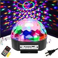 Светодиодный диско шар Bluetooth + флешкa + Пульт управления датчиком звука MP3 плеер светомузыка Magic Ball