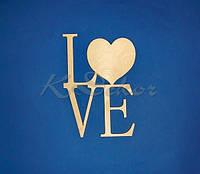 Слово LOVE с сердцем заготовка для декора