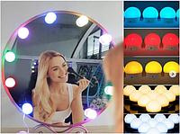 Подсветка для зеркала с регулировкой цвета и яркости RGB с пультом  на 10 ламп от USB