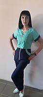 Женский медицинский костюм Жасмин коттон короткий рукав