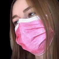 Защитная маска 5 шт. одноразовая трехслойная штампованная розовая для лица с зажимом