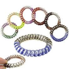 Резинки спиральки для волос блестящие трехцветные набор 100 шт