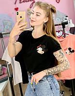 Футболка Жіноча бавовна чорна з принтом Mickey Mouse міккі маус Ox, фото 1
