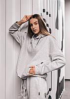 Худи Женское теплое зимнее демисезонное Intruder Brand серое на флисе кофта толстовка Oversize, фото 1