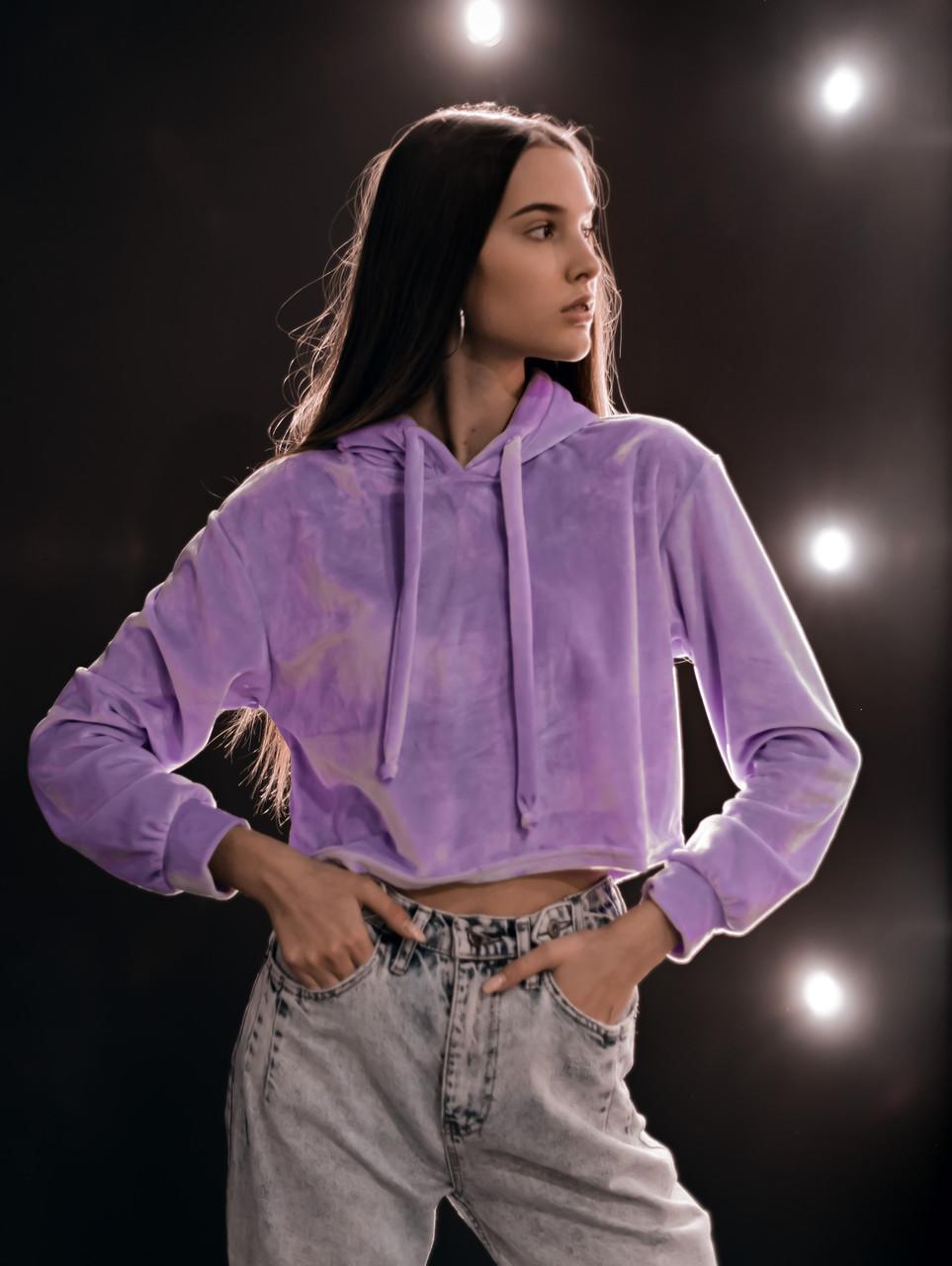 Худі Жіноче вкорочене Intruder Brand бузковий, фіолетовий