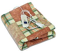 🔝 Электропростынь двоспальне 150х120 см, Тріо (чохол - клітина жовто-зелено-коричнева) электроматрас | 🎁%🚚, фото 1