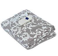 🔝 Электропростынь двоспальне 150х120 см, Тріо (в смужку з квітами, коричнева) электроматрас | 🎁%🚚, фото 1