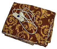 Электропростынь двуспальная 150х120 см, коричневая с узором, простынь с подогревом Трио 02102, фото 1