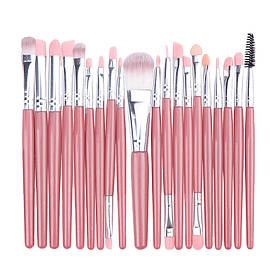 Набір кісточок для макіяжу, 20 шт, рожево-срібні. Якісні пензлики для макіяжу.