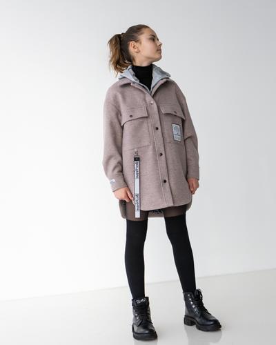 Кашемірове пальто-сорочка із застібкою на кнопки і принтом