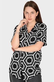 Рубашка женская черная с белым AAA 128904M