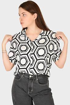 Рубашка женская черная с белым AAA 128905M