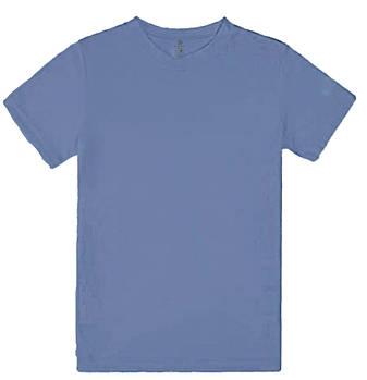 Футболка однотонная детская, цвет голубой, круглая горловина