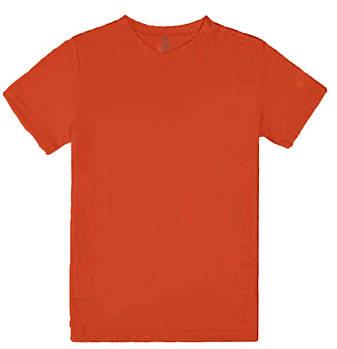 Футболка однотонная детская, цвет морковный, круглая горловина