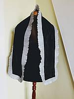 Шарф черный бархатный с плиссированной  оборкой из шифона Sinequanone