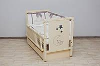 Кроватка детская Labona Мишка, шарнир+подшипник, ящик, откидная боковина, слоновая кость