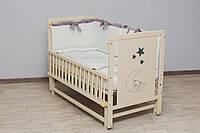 Кроватка детская Labona Мишка, шарнир+подшипник, откидная боковина, слоновая кость