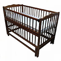 Кроватка детская Labona Мрия № 4 на шарнирах с подшипником, откидная боковина (Орех)