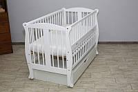 Кроватка детская Labona Грация №11 на шарнирах с подшипником +ящик+ откидная боковина + резьба, белая