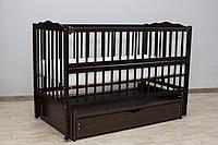 Кроватка детская Labona Мрия №4 на шарнирах, откидная боковина, ящик, венге