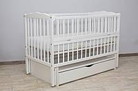 Кроватка детская Labona Мрия №4 на шарнирах, откидная боковина, ящик, белый
