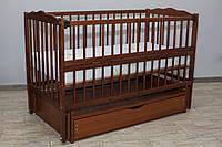 Кроватка детская Labona Мрия №4 на шарнирах, откидная боковина, ящик, орех