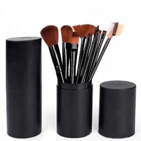 Набір кісточок для макіяжу в тубі, 12 шт., чорні. Якісні кисті для макіяжу.