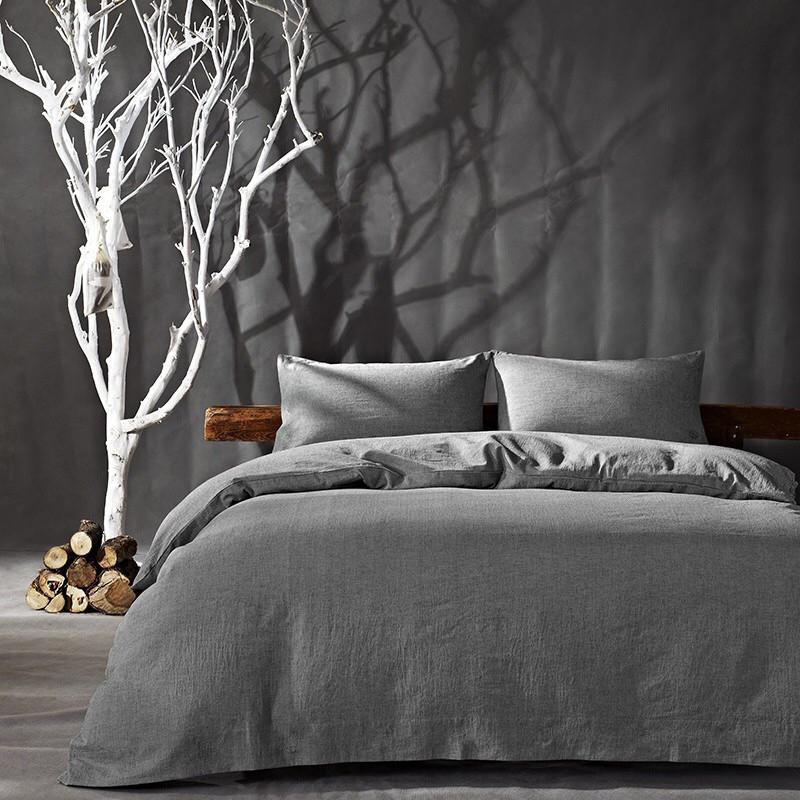 Постельное белье Bella Villa из вареного хлопка серый