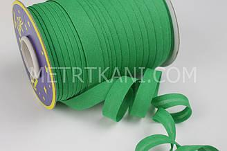 Хлопковая косая бейка зеленого цвета, ширина 15 мм КБ-26