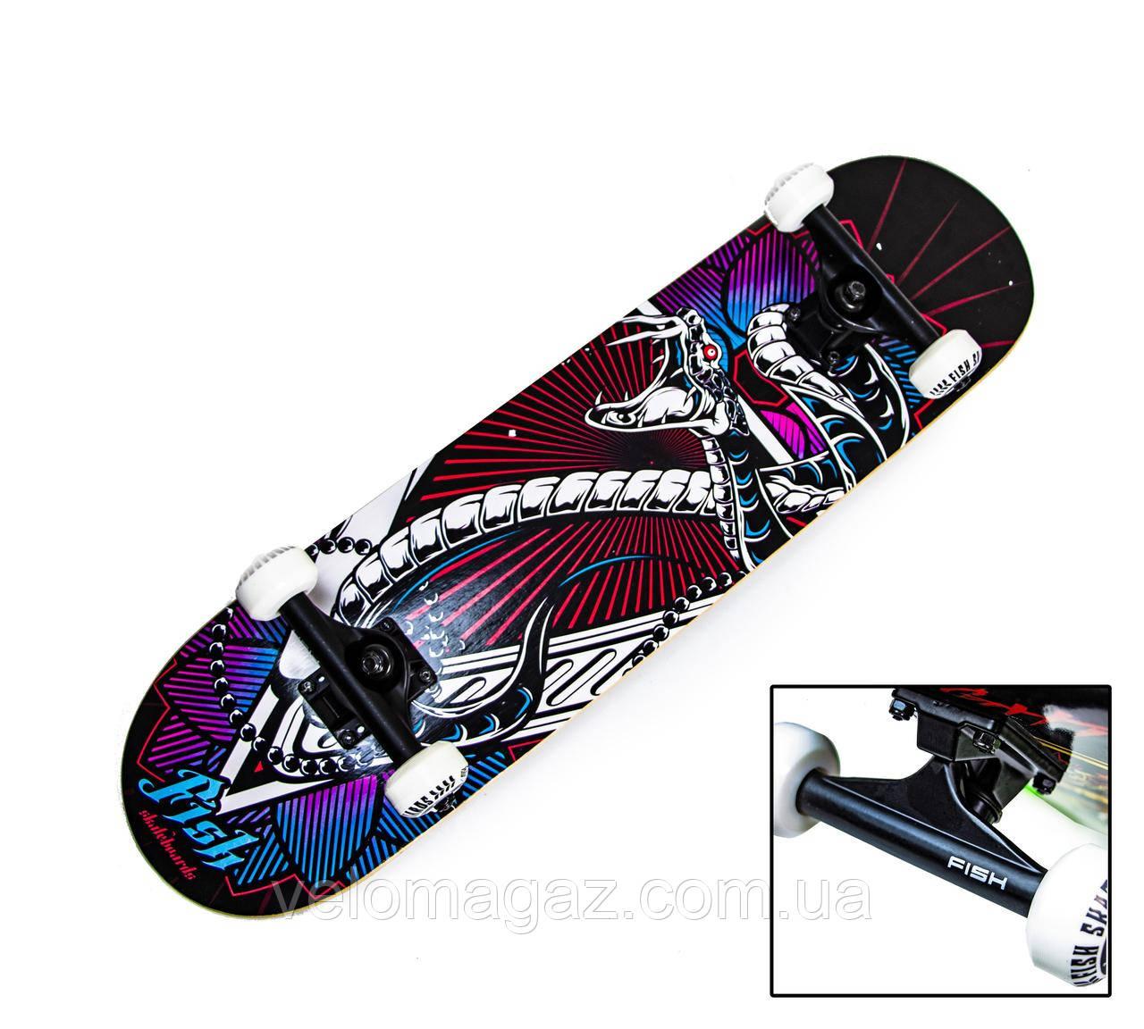 Деревянный скейтборд SNAKE, 79*20 см, клён