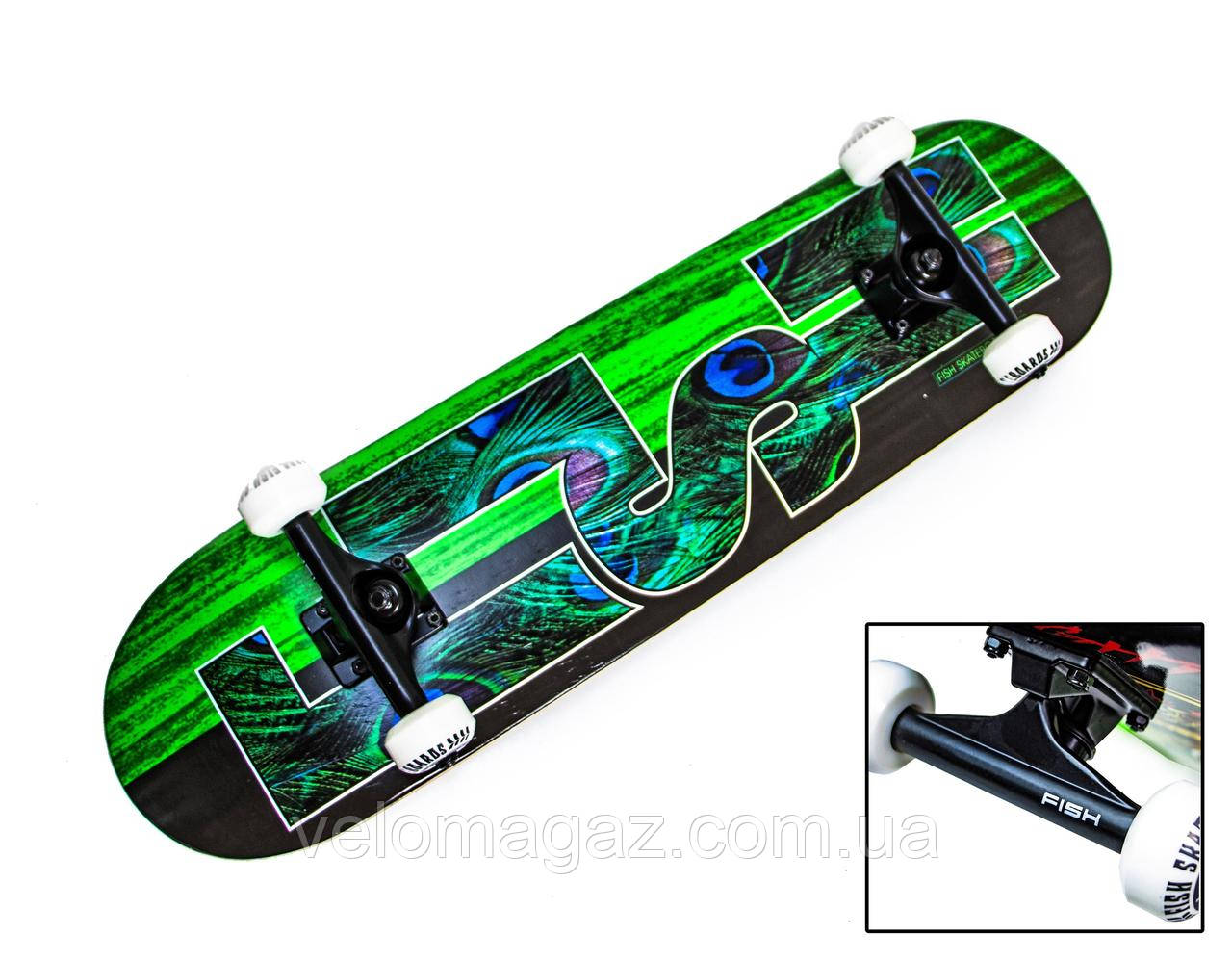 Дерев'яний скейтборд GREEN PEAFOWL, 79*20 см, клен