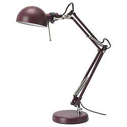 ФОРСО Лампа рабочая, темно-красный, 50457290 IKEA, ИКЕА, FORSÅ