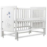 Кроватка детская Labona Мишка, шарнир+подшипник, откидная боковина, белая