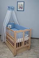 Кроватка детская Labona Волна № 12 на шарнирах с подшипником + ящик + откидная боковина, натуральная