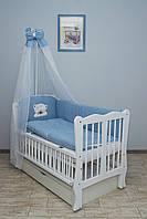 Кроватка детская Labona Волна № 12 на шарнирах с подшипником + ящик + откидная боковина, белая