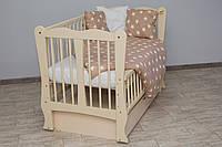 Кроватка детская Labona Волна № 12 на шарнирах с подшипником + ящик + откидная боковина, слоновая кость