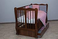 Кроватка детская Labona Волна № 12 на шарнирах с подшипником + ящик + откидная боковина, орех