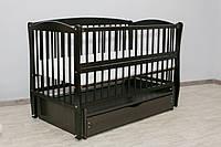 Кроватка детская Labona Элит № 10 на шарнирах с подшипником + откидная боковина + ящик с крышкой, венге