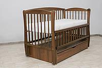 Кроватка детская Labona Элит № 10 на шарнирах с подшипником + откидная боковина + ящик с крышкой, орех