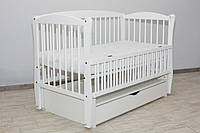 Кроватка детская Labona Элит № 10 на шарнирах с подшипником + откидная боковина + ящик с крышкой, белая
