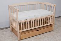Кроватка детская Labona Элит № 10 на шарнирах с подшипником + откидная боковина + ящик с крышкой, натуральный