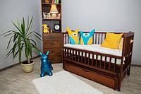 Кроватка детская Labona Мрия №4 на шарнирах, откидная боковина, ящик, тик