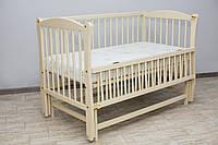 Кроватка детская Labona Элит № 10 на шарнирах с подшипником и откидной боковиной, резьба, слоновая кость
