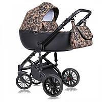 Детская универсальная коляска 2 в 1 Quali Prado, коричневая с узором