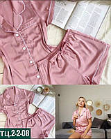 Жіноча стильна шовкова піжама з коротким рукавом