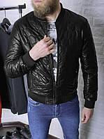 Мужская кожаная куртка бомбер утепленная черная | Кожанка стеганая весна осень из кожзама
