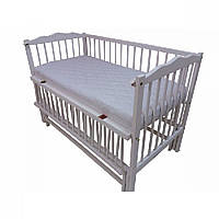 Кроватка детская Labona Мрия № 4 на шарнирах с подшипником, откидная боковина (белая)