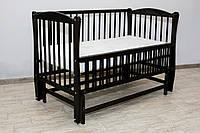 Кроватка детская Labona Элит № 10 на шарнирах с подшипником и откидной боковиной, резьба, венге