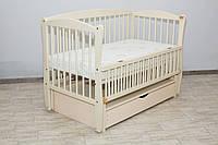 Кроватка детская Labona Элит № 10 на шарнирах с подшипником + откидная боковина + ящик с крышкой, слоновая