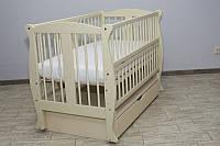 Кроватка детская Labona Грация №11 на шарнирах с подшипником +ящик+ откидная боковина + резьба, слоновая кость